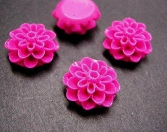 6pc Hot pink Resin Flower Cabochon-2570L