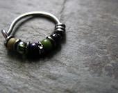 hulk hoop-- superhero nose ring or hoop earring-- handmade by thebeadedlily