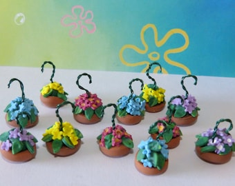 Dollhouse miniature hanging baskets Whimsical  set of 2 miniature random mix of Color