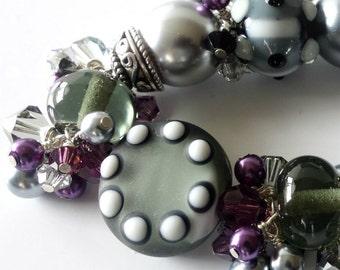 Lampwork Beaded Bracelet, Charcoal Gray, Plum Purple, Black, Sterling Silver, Amethyst Crystals, Lampwork Jewelry, Beaded Jewelry, OOAK