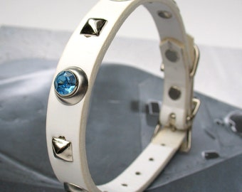 White Leather Dog Collar with Blue Rhinestones and Silver Pyramid Studs, Size XS, to fit a 8-10in Neck