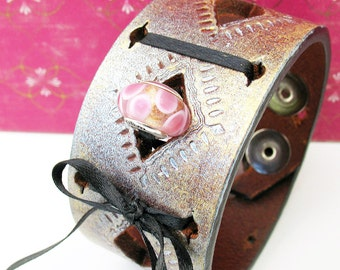 Unique Leather Cuff Bracelet with Pink Sterling Silver Ohm Bead, Adjustable Size, Eco Friendly Recycled Belt Band, OOAK