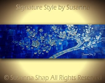 ORIGINAL Art Landscape Abstract Painting Blue Silver Cherry Blossom Tree Textured Modern Palette Knife Wall Decor Mixed Media Art by Susanna