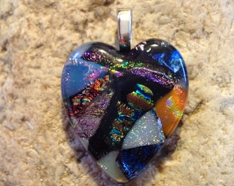 Multi Color Fused Dichroic Art Glass Jewelry Heart Pendant
