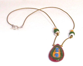 Red Green Blue Yellow Kazuri Fair Trade Ceramic Pendant Necklace
