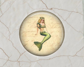 Vintage Mermaid - Glass Image Cabochon - Choice of 20mm, 25mm and 30mm Round