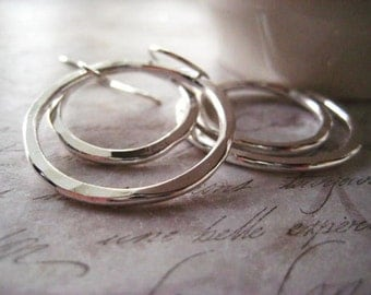 hoop earrings, eternity circles, fine silver, double hoops, double rings, hammered rings, handmade earrings, womens jewelry, candies64