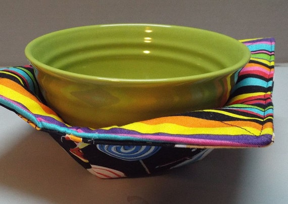 Items similar to microwave bowl cozy or potholder fun food fabric on