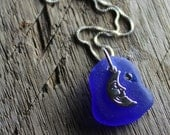 Sea Glass Jewelry - GOODNIGHT MOON -  Swarovski Crystal Pendant Necklace