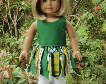 "18"" Girl Doll Clothes Green Fabric Tutu Top Leggings"