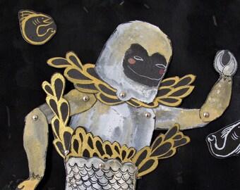 Sea Monkey Original Articulated Paper Beast Scene / Hinged Beasts Series
