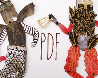 Hybrid Hinged Beasts Articulated Paper Dolls V6 PDF / Hinged Beasts Series