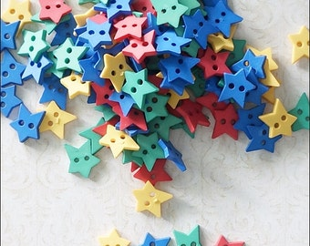 30 pcs Star Buttons Mixed Color scrapbooking / Blythe / Doll Supply