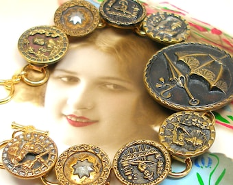 """Parasol, Antique BUTTON bracelet, Victorian Umbrellas with ladies, 8.25"""" one of a kind jewellery."""