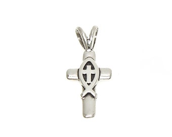Christian Cross with Fish Symbol Small Sterling Silver Charm Customize no. 1941