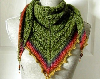 Handknit Women Triangle Scarf Shawl Style Neckwrap with Bead Dangles - Forest Green and Brick Red