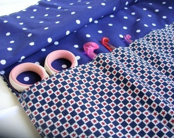 Crochet Hook Roll-up Pouch Red White and Blue Check with Stars and Navy and White Polka Dot