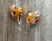 "Handmade lampwork glass heart pendants by Lori Lochner ""Pink gold heart pair"" 2 heart pendants"
