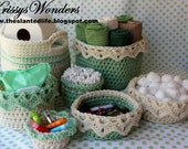 Crochet Basket Patterns Ebook - Drop Over Lace Edge -Eyelet Edge - Large Basket with Handles - Crochet Storage Ideasb - Ebook 1