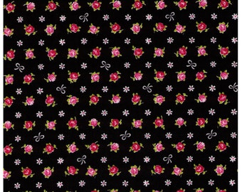 HALF YARD - Mini Red and Pink Rose Buds with White Bows on BLACK - Flowers, Lolita, Kawaii - Cosmo Textiles, Japanese Import