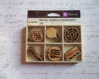 Prima: Cartographer Collection Wood Embellishments
