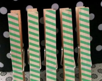 Mint Green Striped Decorative Clothes Pins