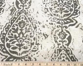 20% Off! Home Decor FABRIC - Woodblock Print - Grey Natural