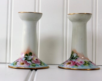 Hand Painted Candle Sticks - Austria - Roses - Pair - Cottage Chic