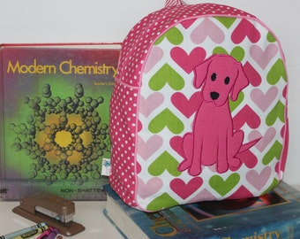 Handmade Pink Puppy Backpack for a Toddler -Ready to Ship- CLEARANCE TAKE 30% OFF- no coupon code needed