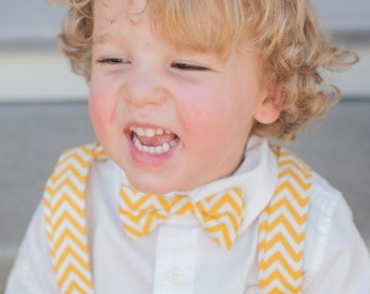 Boy's Bow Tie and Suspenders Yellow and White Chevron