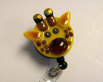 Giraffe Retractable Badge Holder Fused Glass.