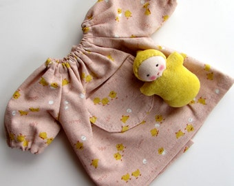 Waldorf doll clothes, Kawaii dress, little chicks, germandolls, 12 inch, doll clothing