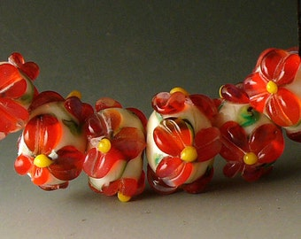 Glass Lampwork Beads Handmade SRA by Catalina Glass  Holiday Poinsettia  6 Beads