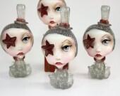 Pop Surrealism Artist Toy Collectible Sculpture Art Smoke & Deep Red Octopus Girl Kawaii