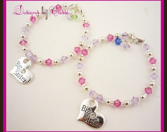 Sister Bracelet Set for Big and Little Sister, Custom Crystal Birthstone, Big Sis silver charm,  choose colors new baby