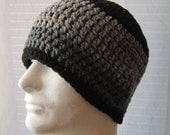 Crochet Beanie Skullcap Hat: Black and Grey - Men Women Teens Unisex