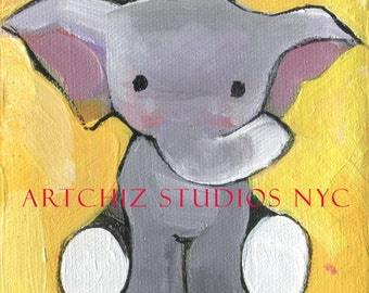 A Trumpet. Cute Baby Elephant. Yellow, Grey. Kids Decor. Awesome Baby Shower Gift. Children's illustration, kids art print, poster