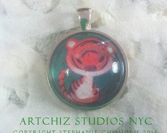 Orange Kitty Art Jewelry.  Baby Tiger. Cat. Real Glass - 1 Inch Circle Bezel Silver Pendant. Green.  Cute. Present. Birthday Gift. Animal