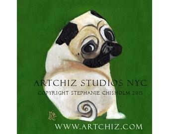 PuG Art. Pug Illustration. Art. Print. Forest Green. Pug Portrait. Pugnation.  Signed by the Artist - Sweet Potato