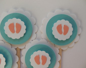 Baby Footprint Cupcake Toppers - Coral, White and Teal - Gender Neutral Baby Shower Decorations - Gender Reveal Party - Set of 6