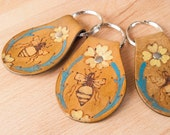 Leather Key Chain - Key Chain - Bee Key Chain - Handmade Leather - Melissa Key Chain with flowers and bees in turquoise yellow and brown