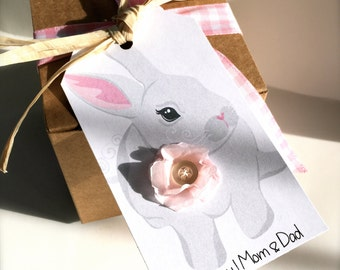 Easter Bunny Spring Celebration Basket Gift Tag for Party Favor or Easter Brunch Napkin Rings with Tissue Paper Flower Personalized