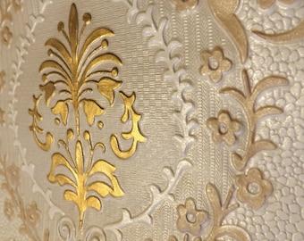 Vintage embossed gold wallpaper wedding decoupage 1 meter length 52.5 cm wide