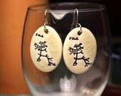 Darwin Tree Ceramic Earrings in Cream Crackle