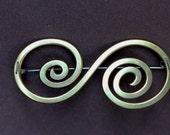 S Brooch - spiral brass brooch