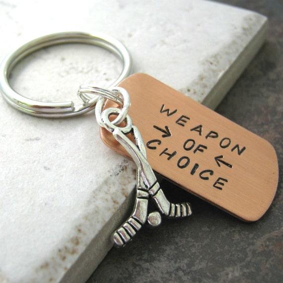 HOCKEY Keychain, Weapon of Choice, hockey team gift, hockey player gift, ice hockey, optional personalized disc