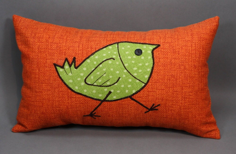 Throw Pillows Bird Design : Orange Decorative Pillow Cover with Green Bird Design made