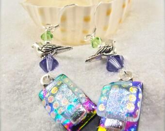 Rainbow earrings, Dichroic Earrings, wedding gift, bridesmaid gift, dichroic handmade, glass fusion, bohemian, bird earrings,dangle earrings