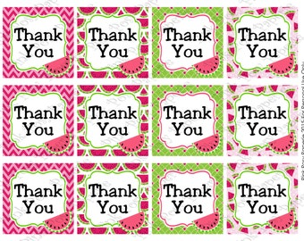 Printable Watermelon Thank You Tags - Instant Download