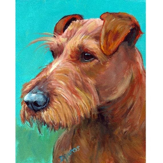 Irish Terrier Art Original Acrylic Painting 8x10 Irish
